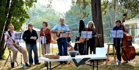 Sojourners Band performing in the church park