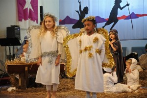 Sojourners young and old act out the Nativity story for our annual Christmas pageant.