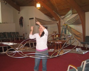 Hannah hanging art installation