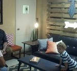 Living room area with Brian, Jackson and Francesca
