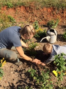Lindsay and baby in raingarden 10.17.15