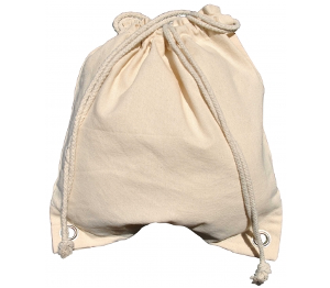 A white bag with drawstrings